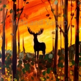 Deer in Woods/Fall