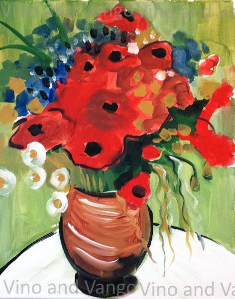van gogh red poppies watermark