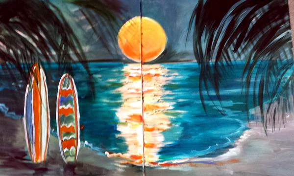 Surfboards in Moonlight IV