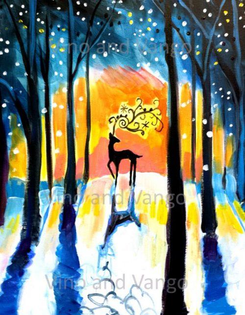 Deer in Woods - Winter