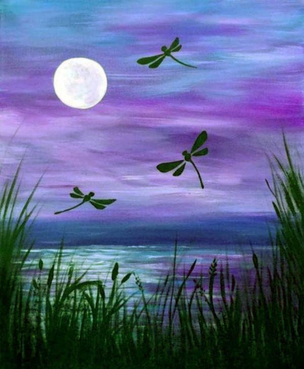 Purple Dragonflies w Moon II