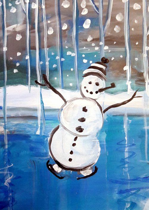 Blue Birch Snowman Pond Cropped