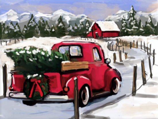 Red Truck & Wreath